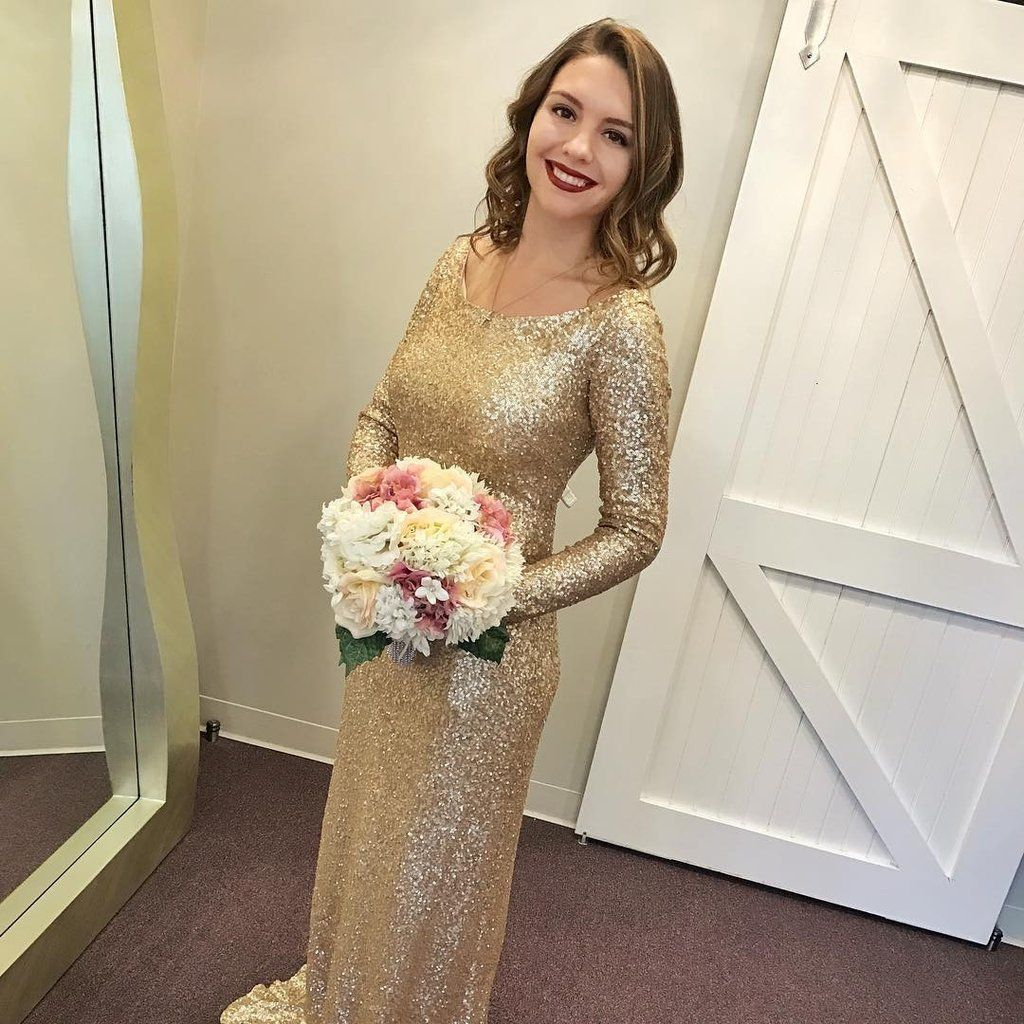 Long sleeves gold sequin bridesmaid dresses prom dresses