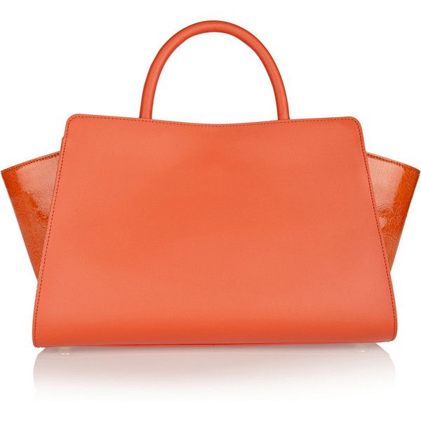 ZAC Zac Posen Eartha East-West leather and patent-leather tote (£180) ❤ liked on Polyvore featuring bags, handbags, tote bags, laukut, outfits, сумки, coral, genuine leather handbags, accessories handbags and patent leather tote