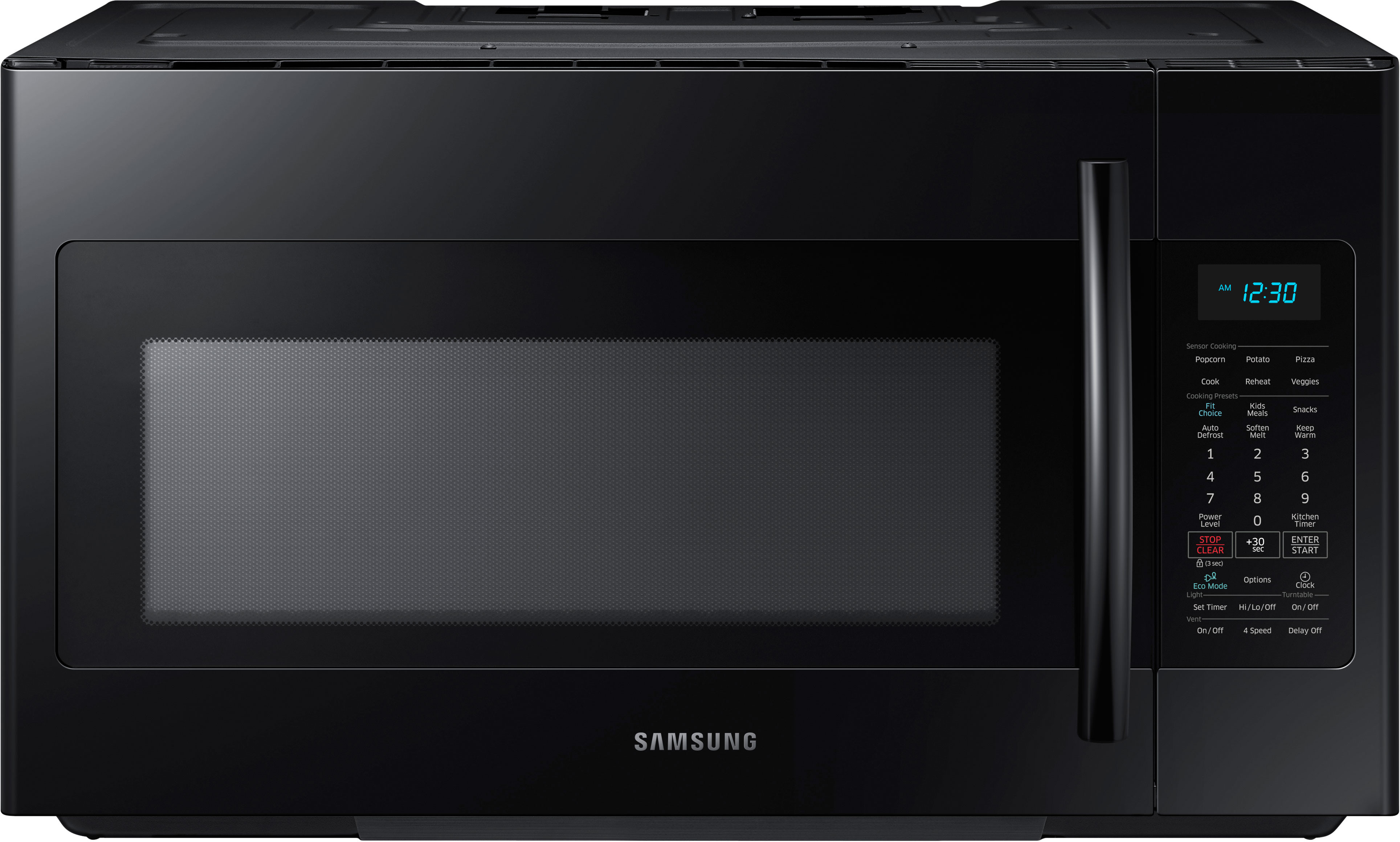 Samsung Me18h704sfb 1 8 Cu Ft Over The Range Microwave Oven With 1 000 Cooking Watts 10 Power Levels Four Speed 400 Cfm Venting System 2 Stage Programmable Range Microwave Microwave Black Microwave