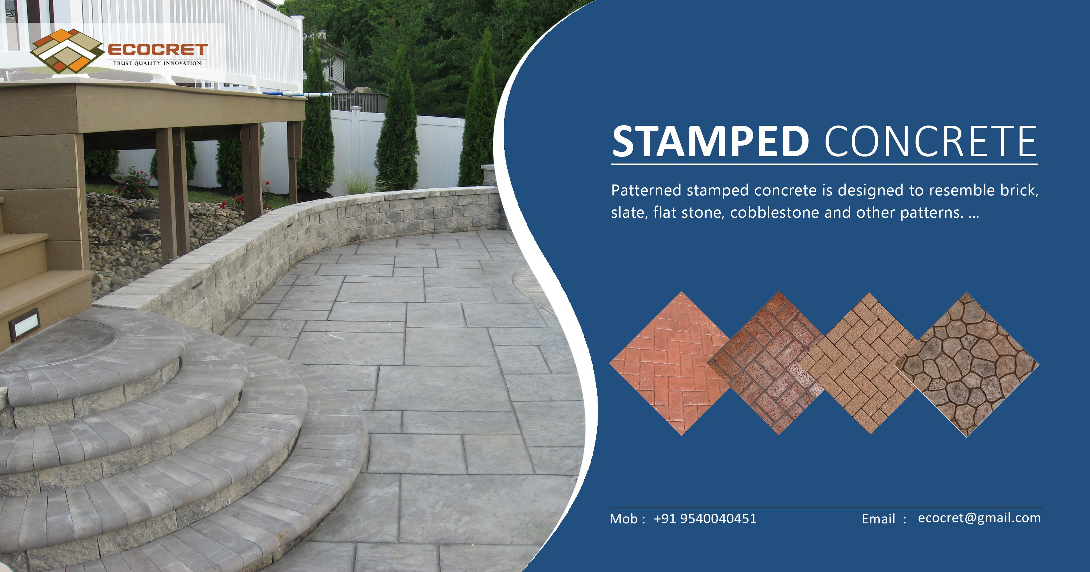 Ecocret Offers A Wide Range Of Stamped Concrete Textured Concrete According To Your Needs At Affordable Price In Stamped Concrete Concrete Floors Concrete