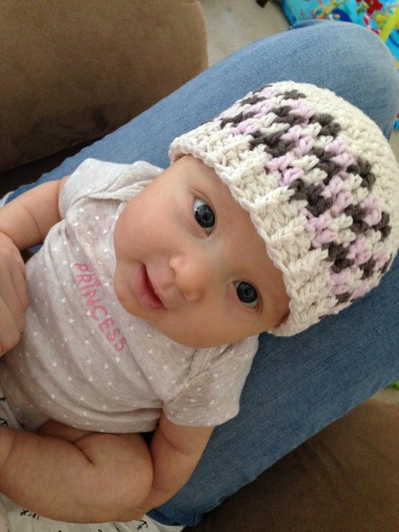 1f7cc6b2 Crochet Pattern for Unisex Side Step Beanie or Newsboy Hat - 7 sizes,  preemie/doll to large adult -