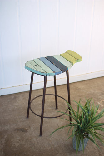 Painted Wood And Metal Fish Counter Stool Outdoor Bar Stools