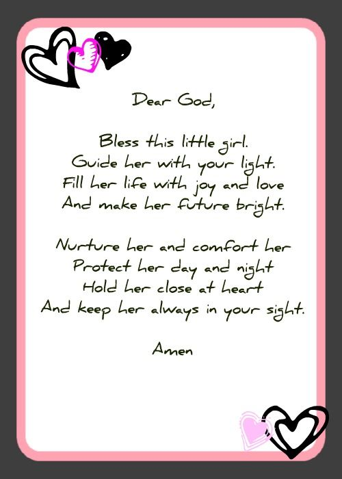 Good poem for baptism page too baby shower prayer cards for Spiritual shower