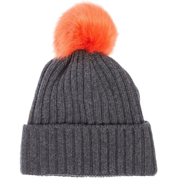 Helene Berman Faux Fur Pom Beanie ($52) ❤ liked on Polyvore featuring accessories, hats, charcoal, sale, pom pom beanie, helene berman hats, fake fur hats, faux fur hat and pom pom beanie hat