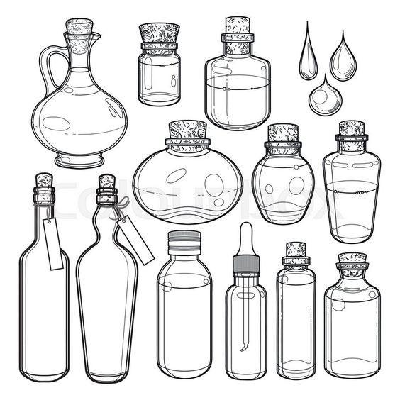 Diferentes Pociones Dibujo Dibujos De Botellas Dibujos Botanicos Cosas De Dibujo