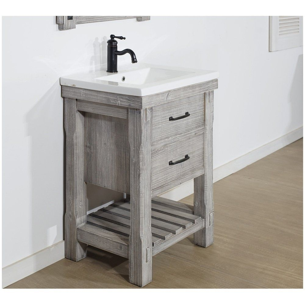 Shop 24 Rustic Solid Fir Vanity With Ceramic Single Sink In