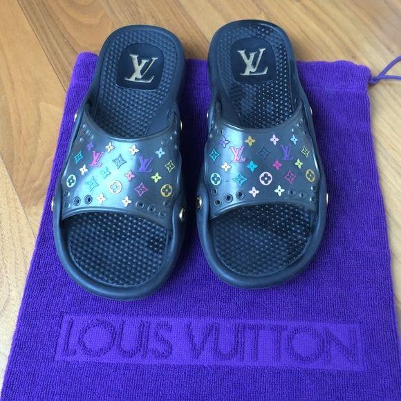 fa857b1d9cc8 Louis Vuitton Pool Slides Louis Vuitton Murakami multicolor monogram rubber  pool slides with gold logo studs