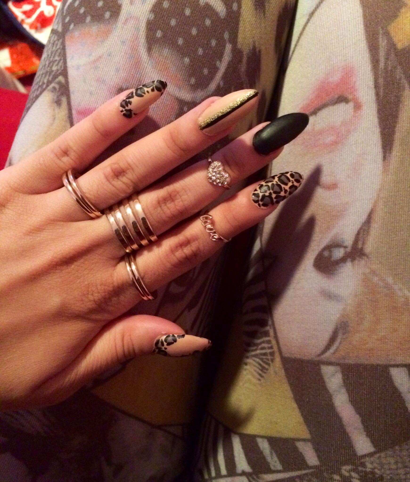 Cheetah and Black Matte Stiletto / Almond acrylic Nails Design | My ...