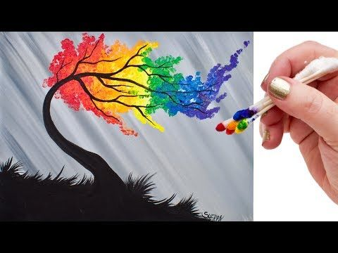 Regenbogen Weide Baum Q Tip Acryl Malerei Fur Anfanger Tutorial