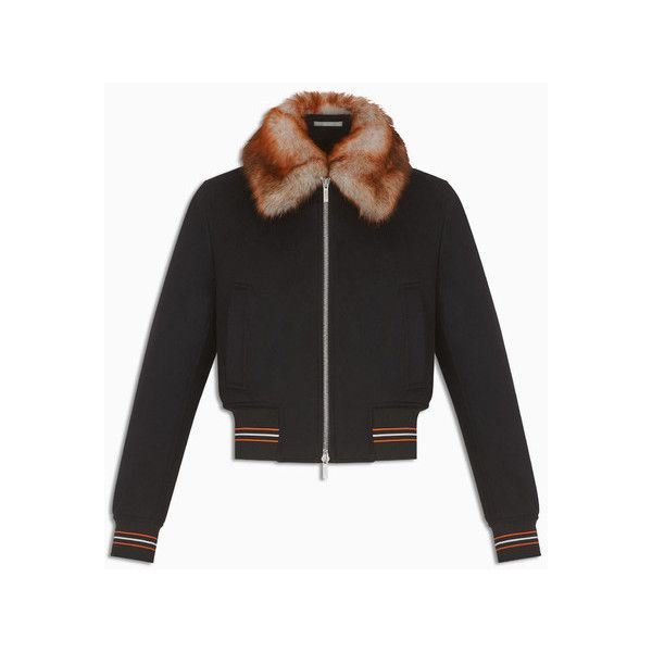 1d77347c2d Sheepskin collar, black wool and cashmere - Dior ❤ liked on ...
