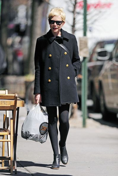 Michelle Williams Style - Gamine & Ethereal.. i want these booties..anyone know what they are?