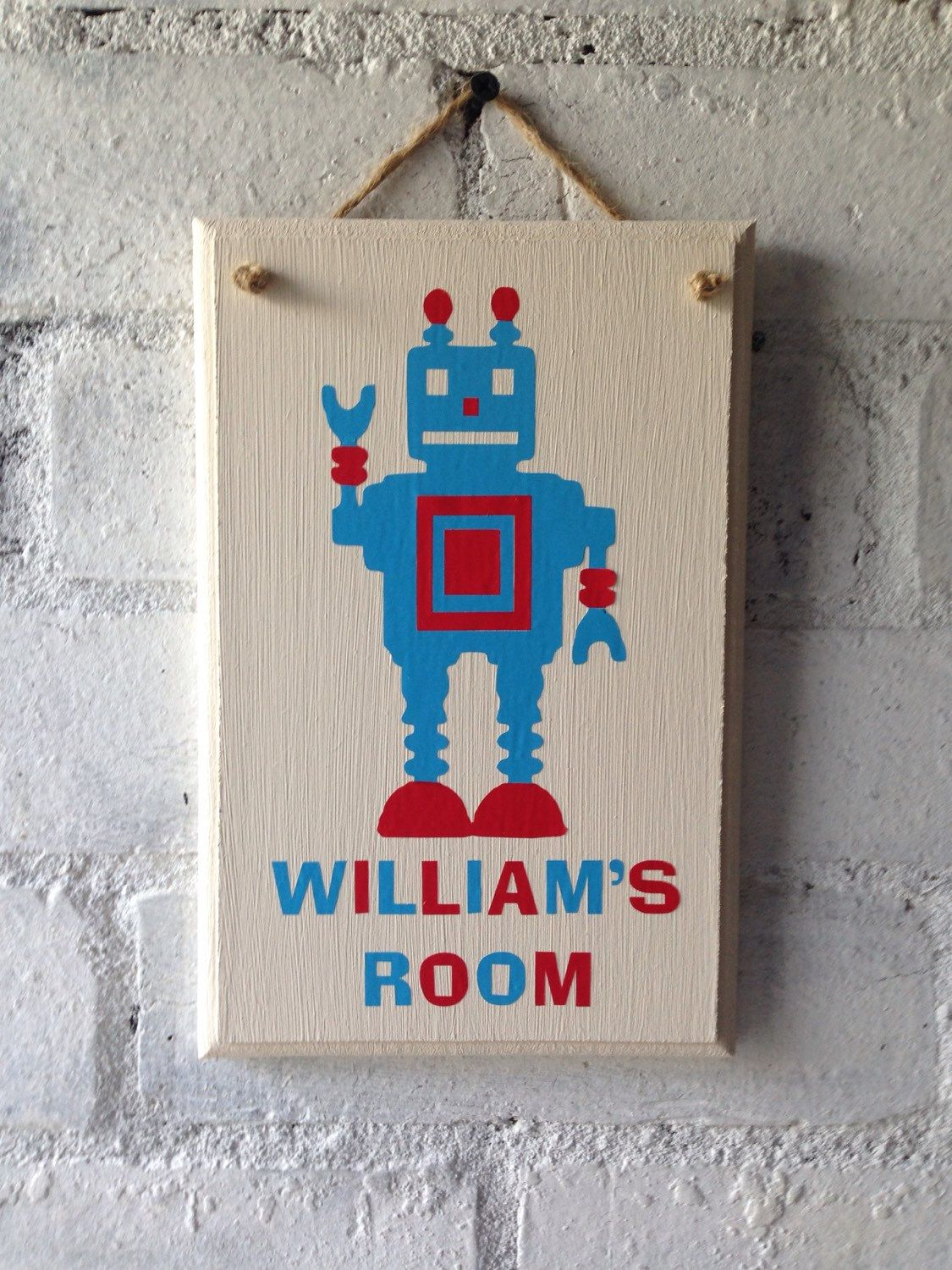 Wooden bedroom door sign personalised with name and robot by