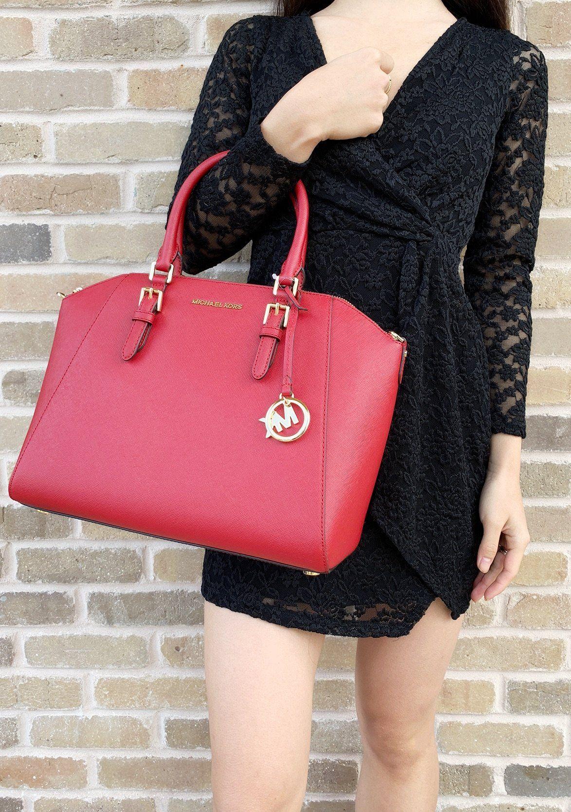 982a0b21d093 Michael Kors Ciara Saffiano Large Top Zip Satchel Crossbody Scarlet Red #MK  #poshfind #poshcloset #ebayseller #poshmark #mercari #Handbags  #ebaybusiness ...