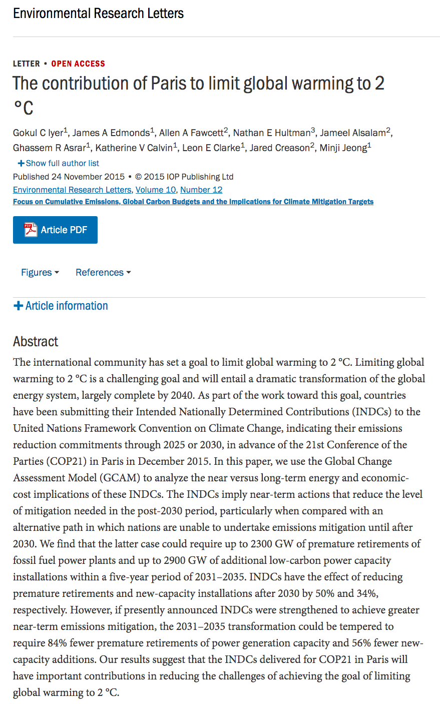 Iyer G C Edmonds J A Clarke L E Asrar G R Hultman N E Jeong M Et Al 2015 The Contribution Of Paris To Limit Global Warming To 2 C E Lettura