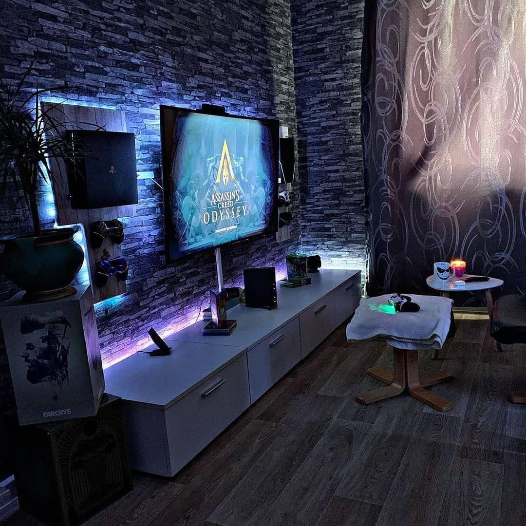 A small living space can still be stylish. Living room space gaming room man cave | Game room, Video ...