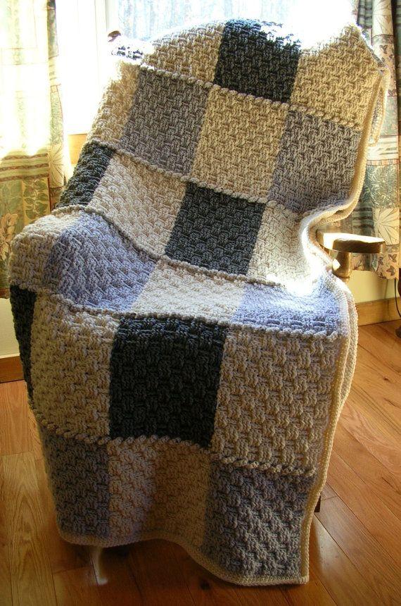 Crochet Afghan Blanket Throw Neutral Colors Gray White Basketweave ...