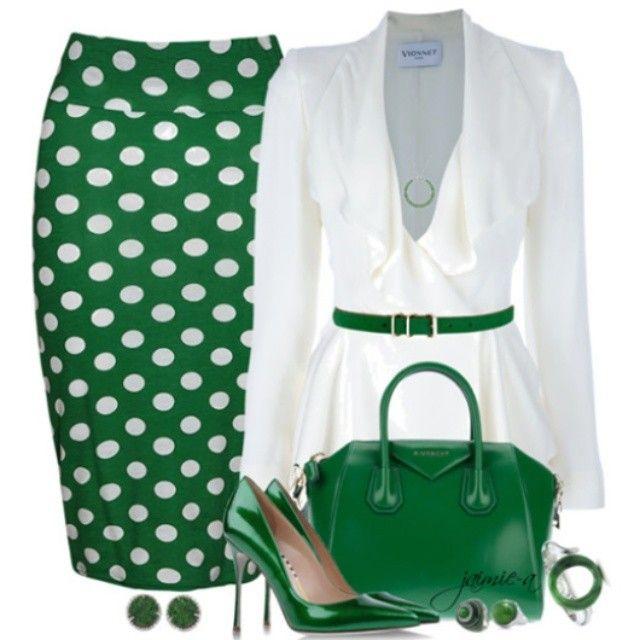 Green and white polka dots