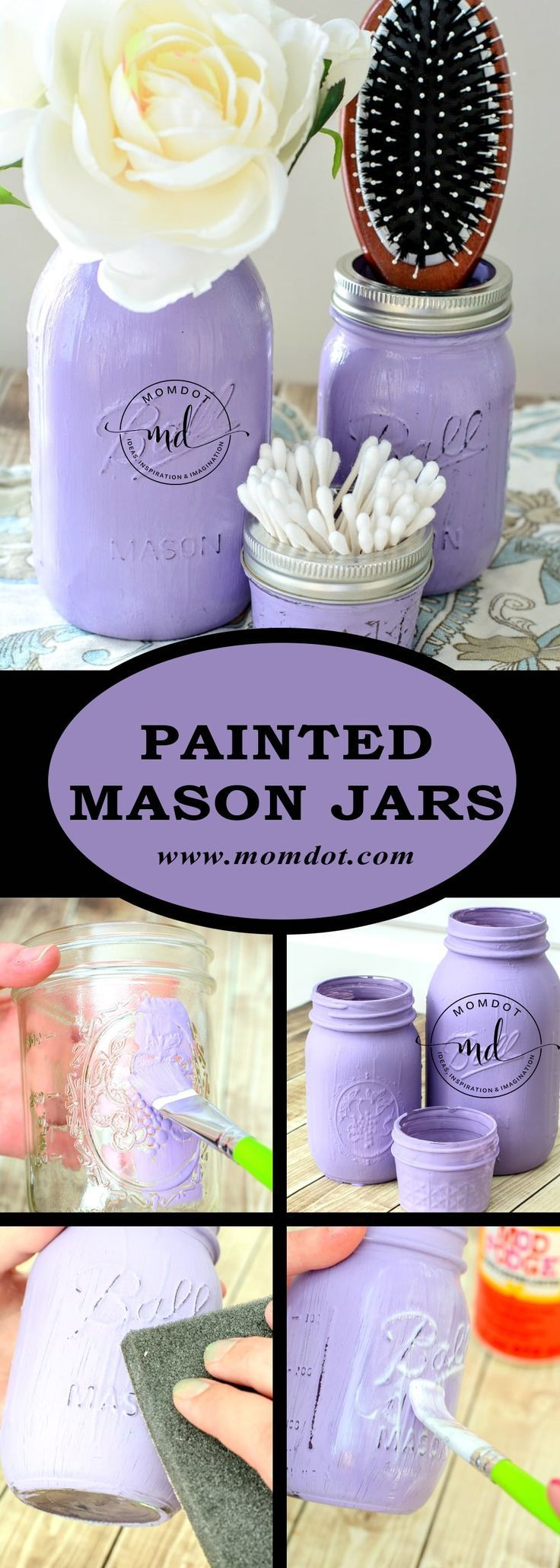 DIY Painted Mason Jars Tutorial - -   22 mason jar decorados