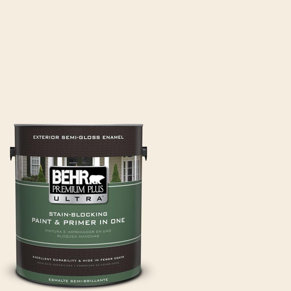 BEHR Premium Plus Ultra 1-gal. #icc-20 Elegant White Semi-Gloss Enamel Exterior Paint