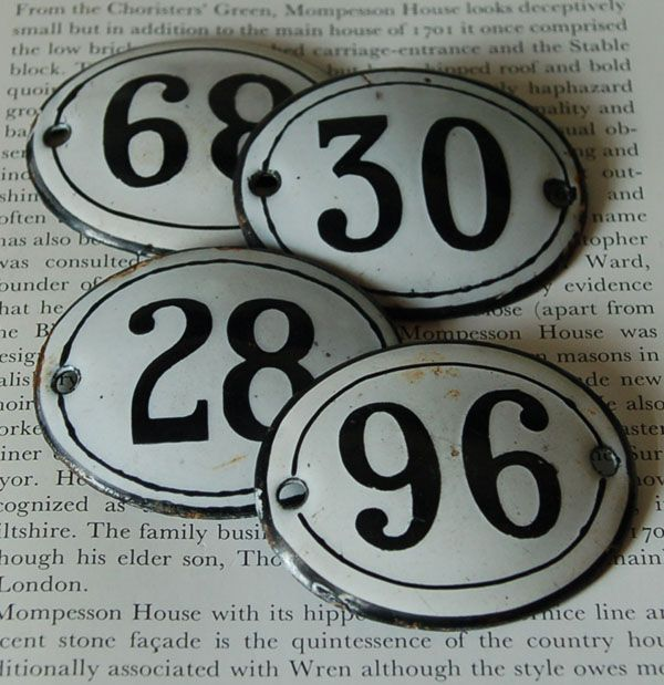 A Quantity Of Enamel House Numbers House Numbers Architectural Antiques Vintage Numbers