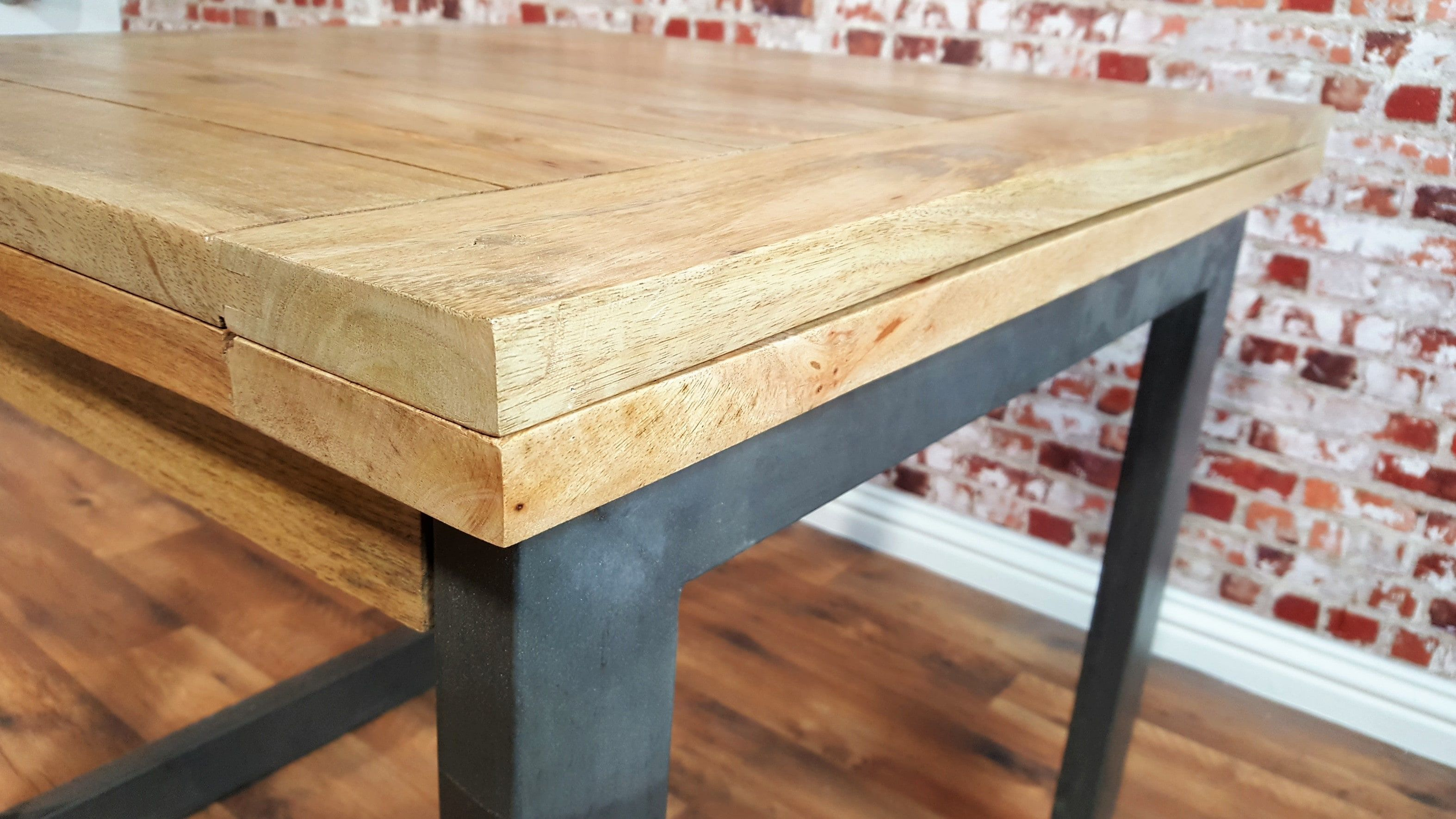 Extending Rustic Folding Dining Table Drop Leaf Space Saving