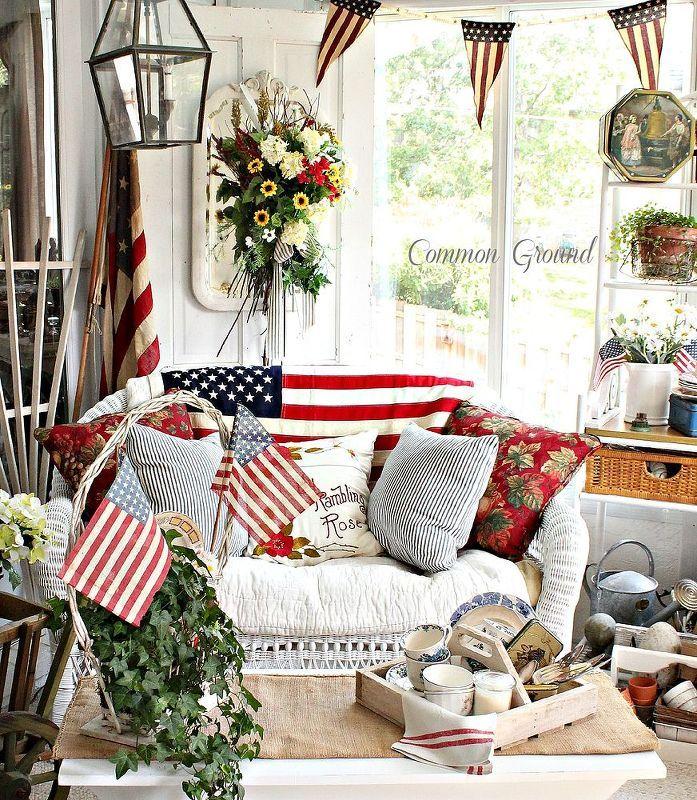 patriotic sunporch, decks, patriotic decor ideas, seasonal holiday decor