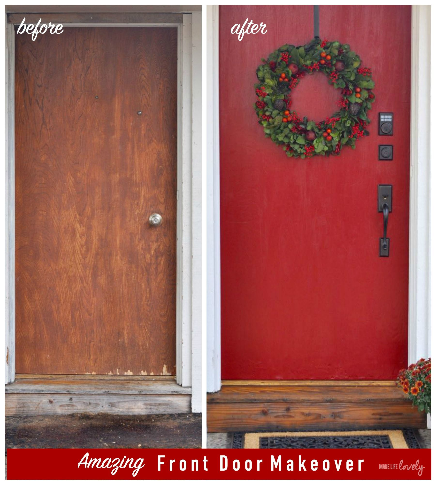 Amazing Front Door Makeover Before And After Non Fade Modern Masters Paint