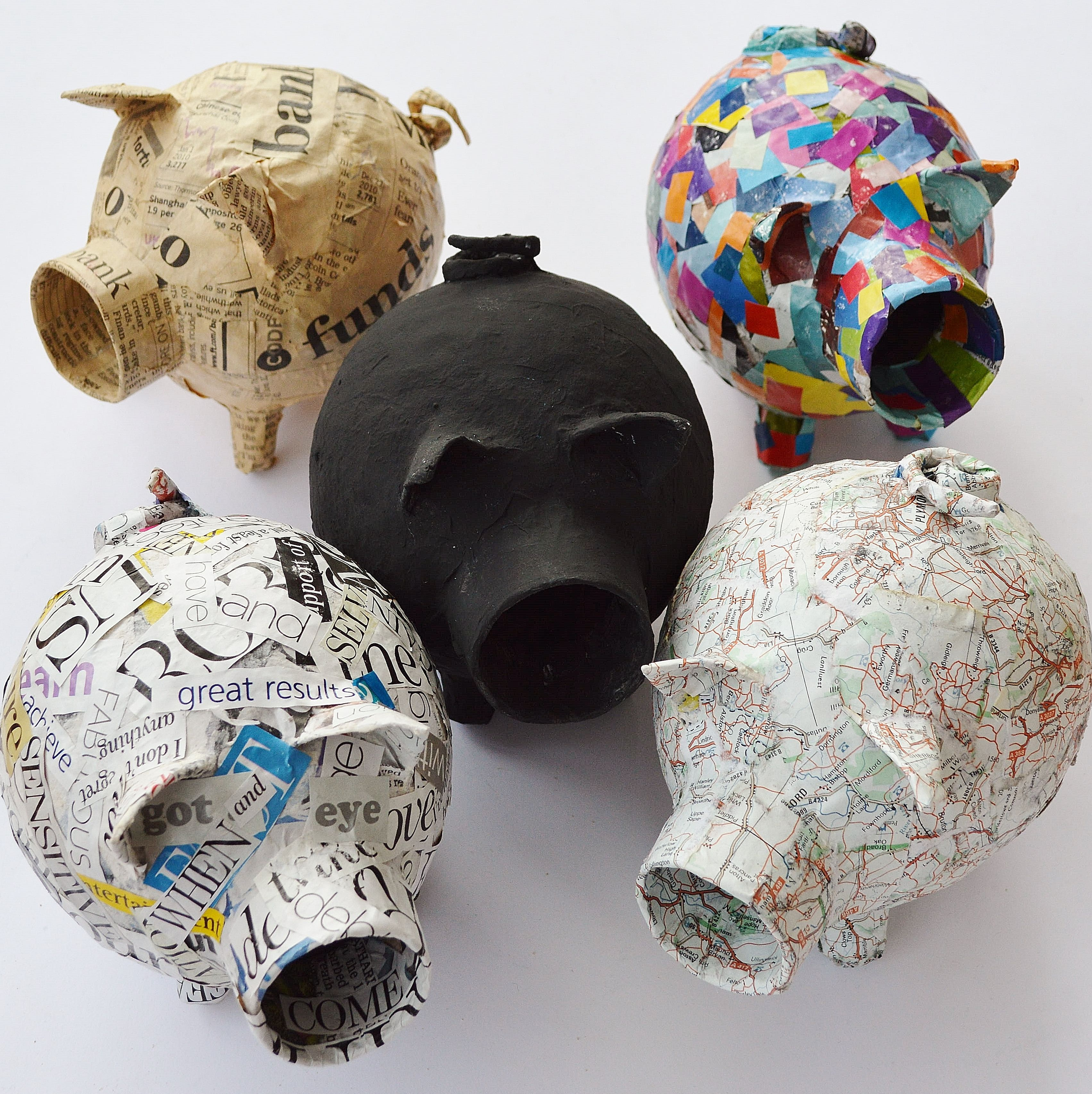 paper mache piggy banks paper mache paper. Black Bedroom Furniture Sets. Home Design Ideas