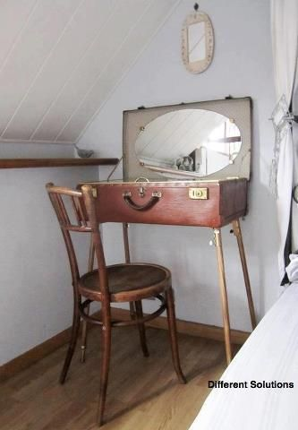 Old suitcase used as a vanity. Store your make-up, etc... When ...