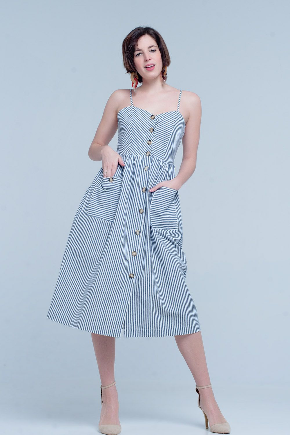 940e17d807d Striped blue and white midi dress made of comfortable cotton