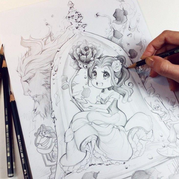 Dessins fanart la belle et la b te dessin waltdisney en 2019 belle drawing princess - Coloriage de la belle et la bete ...