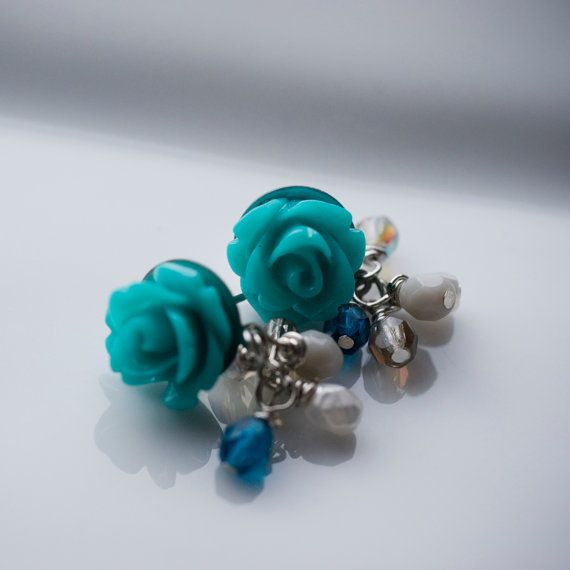 Teal rose and pearl cluster earrings.
