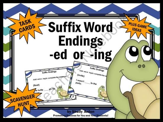 Language Arts Suffixes Word Endings -Ing Or -Ed Task Cards
