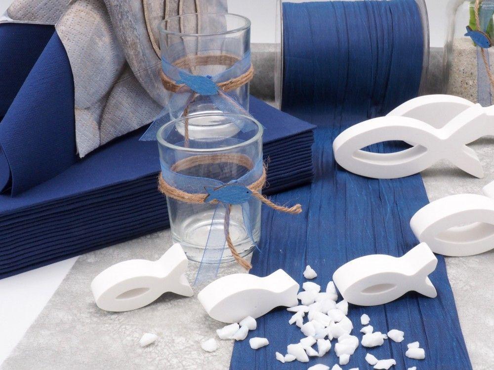 Tischdeko Kommunion Konfirmation Blau Grau Weiss Fisch Set 20