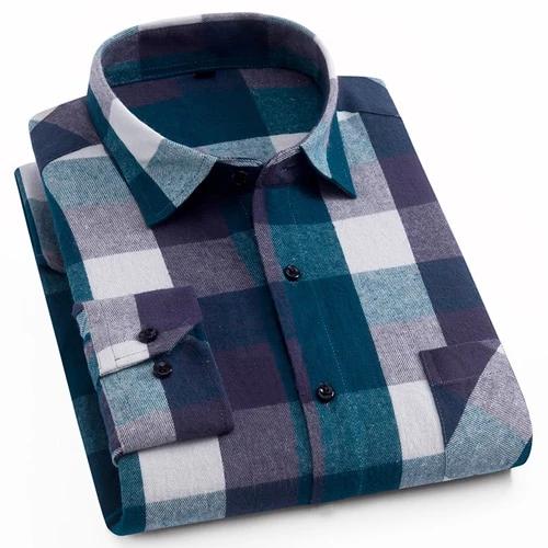 Men S 100 Cotton Casual Plaid Shirts Pocket Long Sleeve Slim Fit Comf Geekbuyig Casual Plaid Shirt Short Sleeve Dress Shirt Button Up Shirt Mens