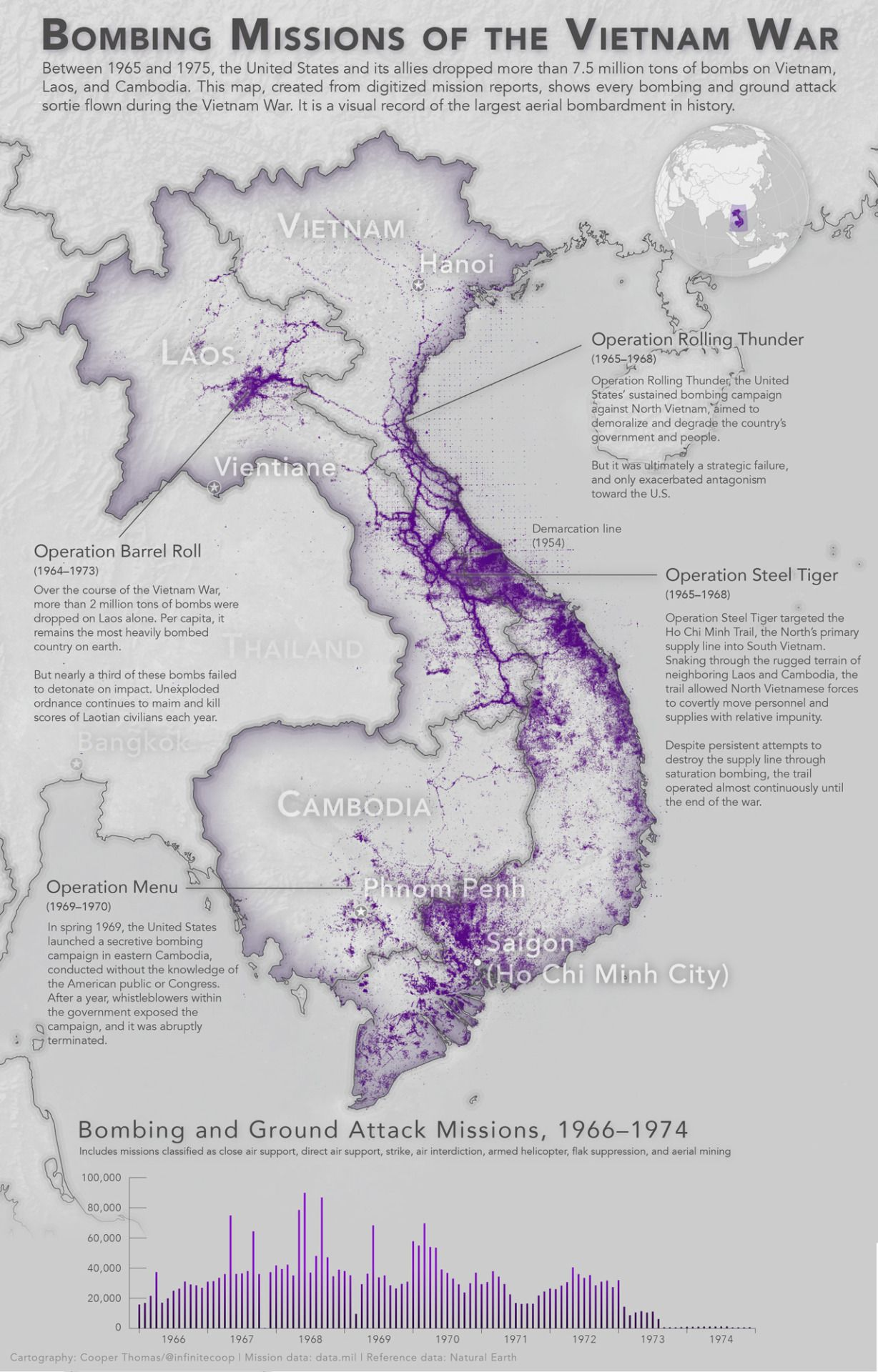 Map Of Asia During Vietnam War.Every Bombing Mission Of The Vietnam War Maps Vietnam War