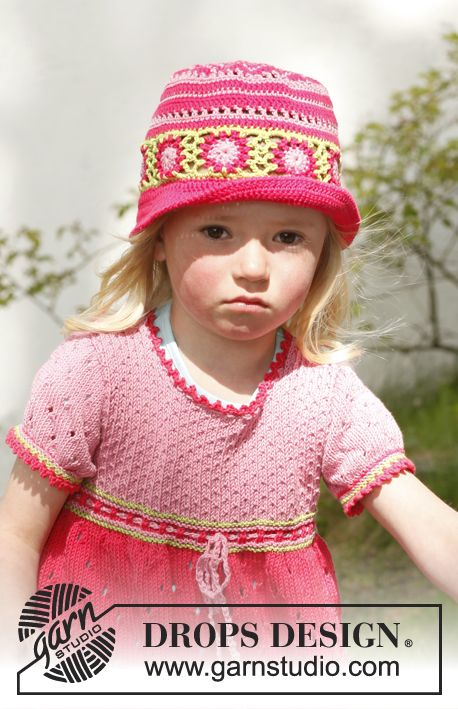 Sweet berries hat / DROPS Children 23-48 - Virkattu DROPS hattu ...