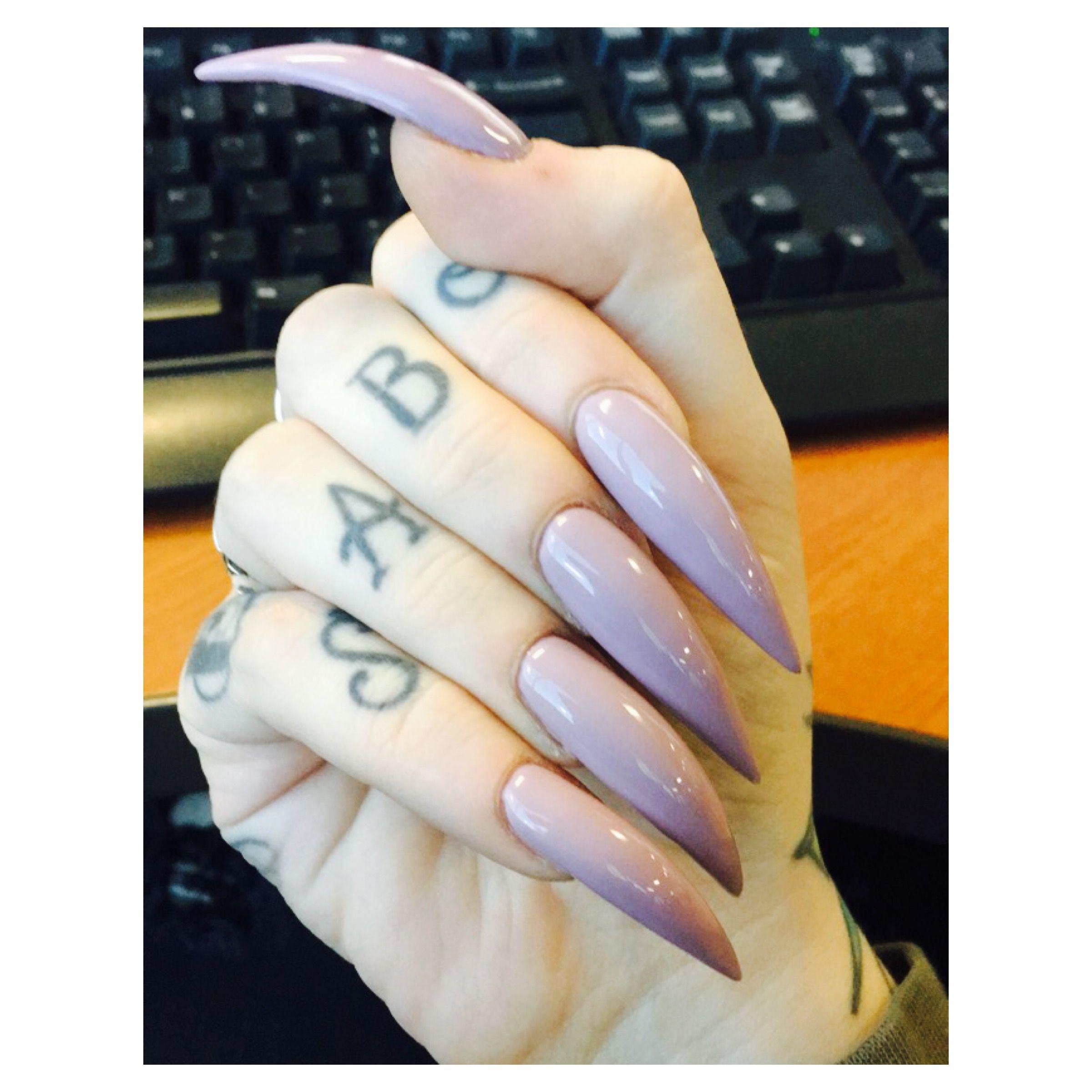 Long lavender stiletto nails | claws | Pinterest