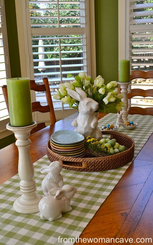 Easter tablescape and decor table decor pinterest for Dining table decor ideas