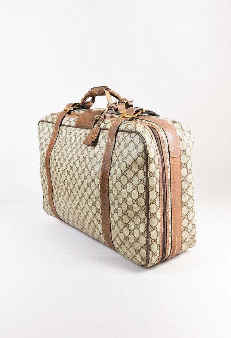 f697b1c0d61505 Gucci Vintage Brown Monogram Canvas & Leather Handheld Luggage - 3 ...
