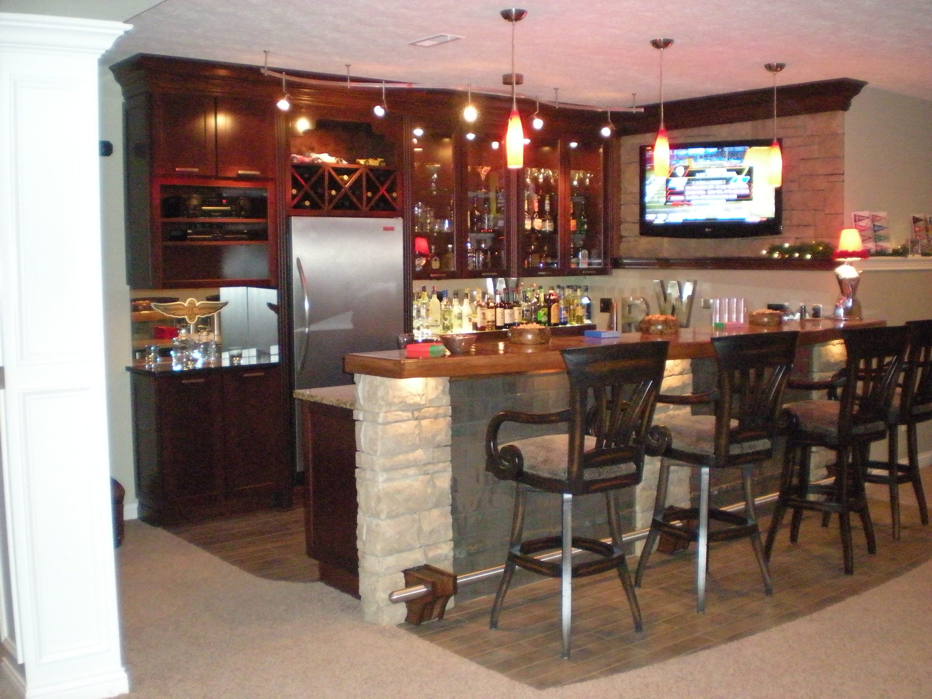 very cool basement design a curved counter a circular soffit and