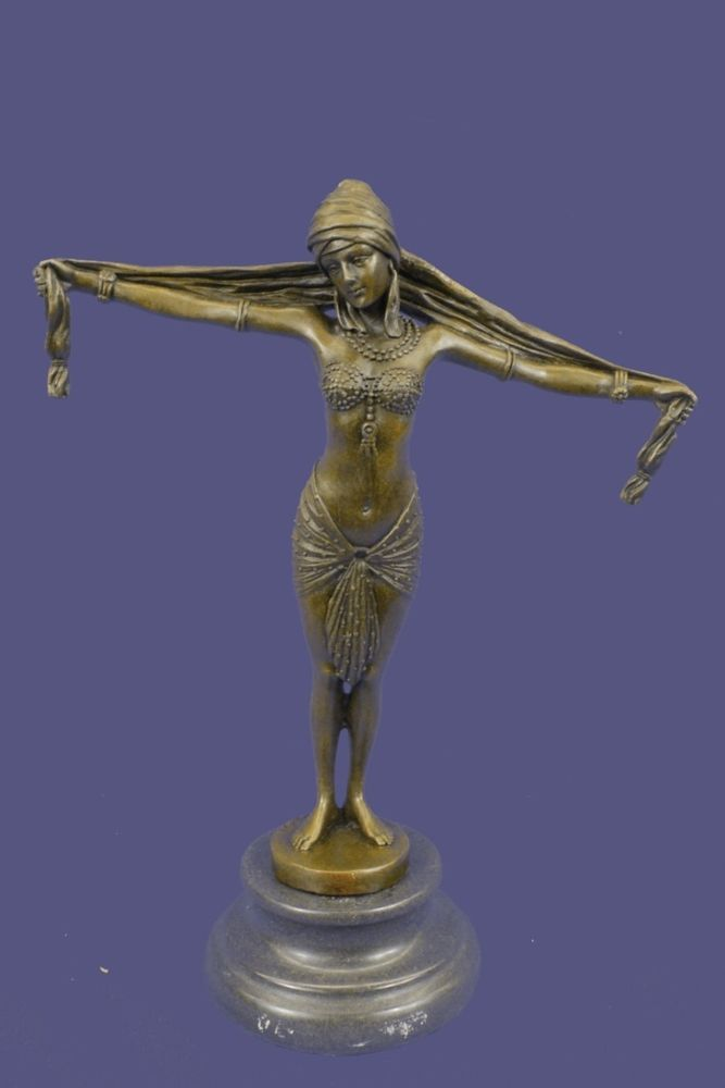 Chiparus Sexy Gypsy Dancer Girl Real Bronze Sculpture Statue Figure Marble Base