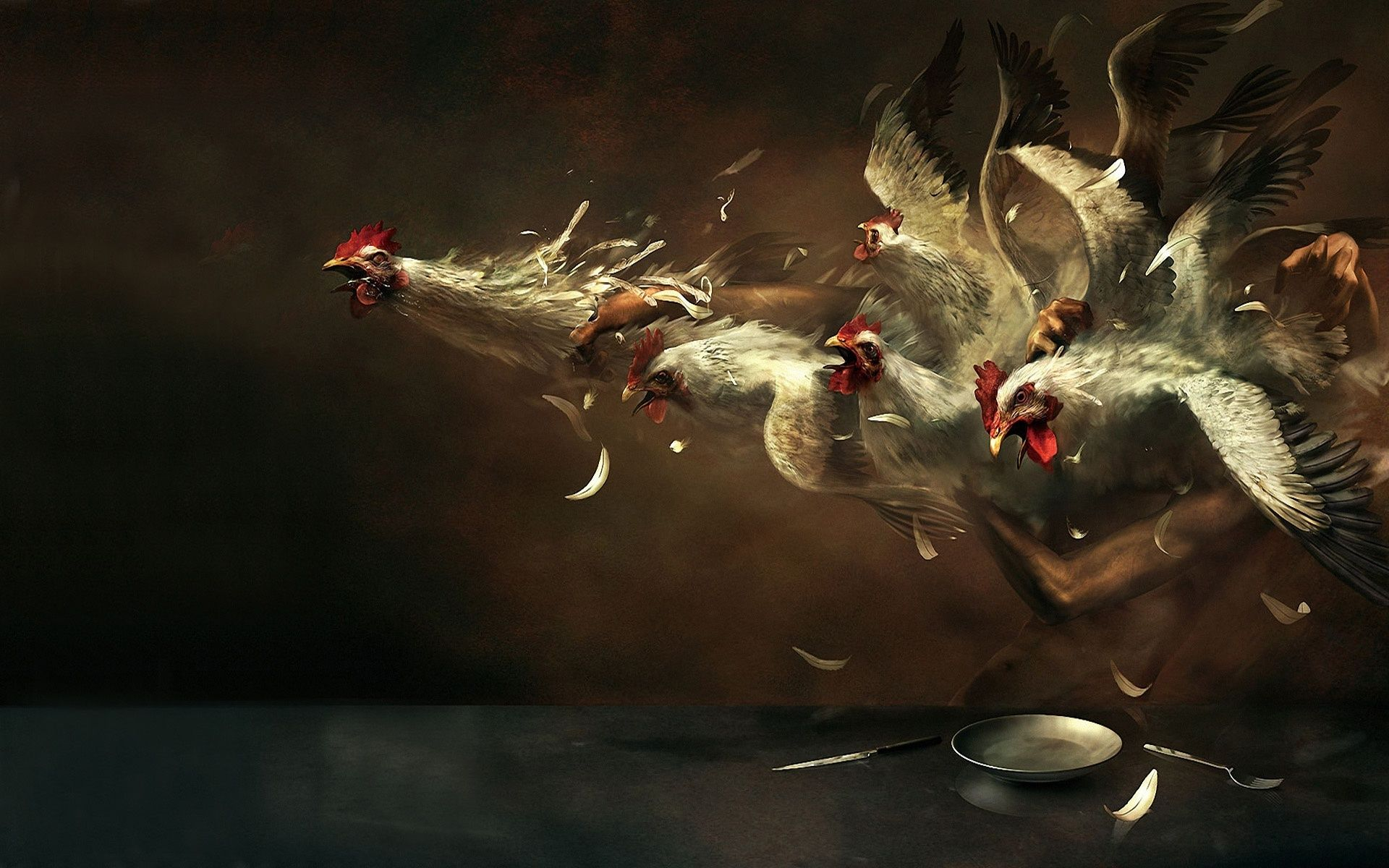 Crazy Chicken Eater Hd Wallpaper Surrealism Painting Art