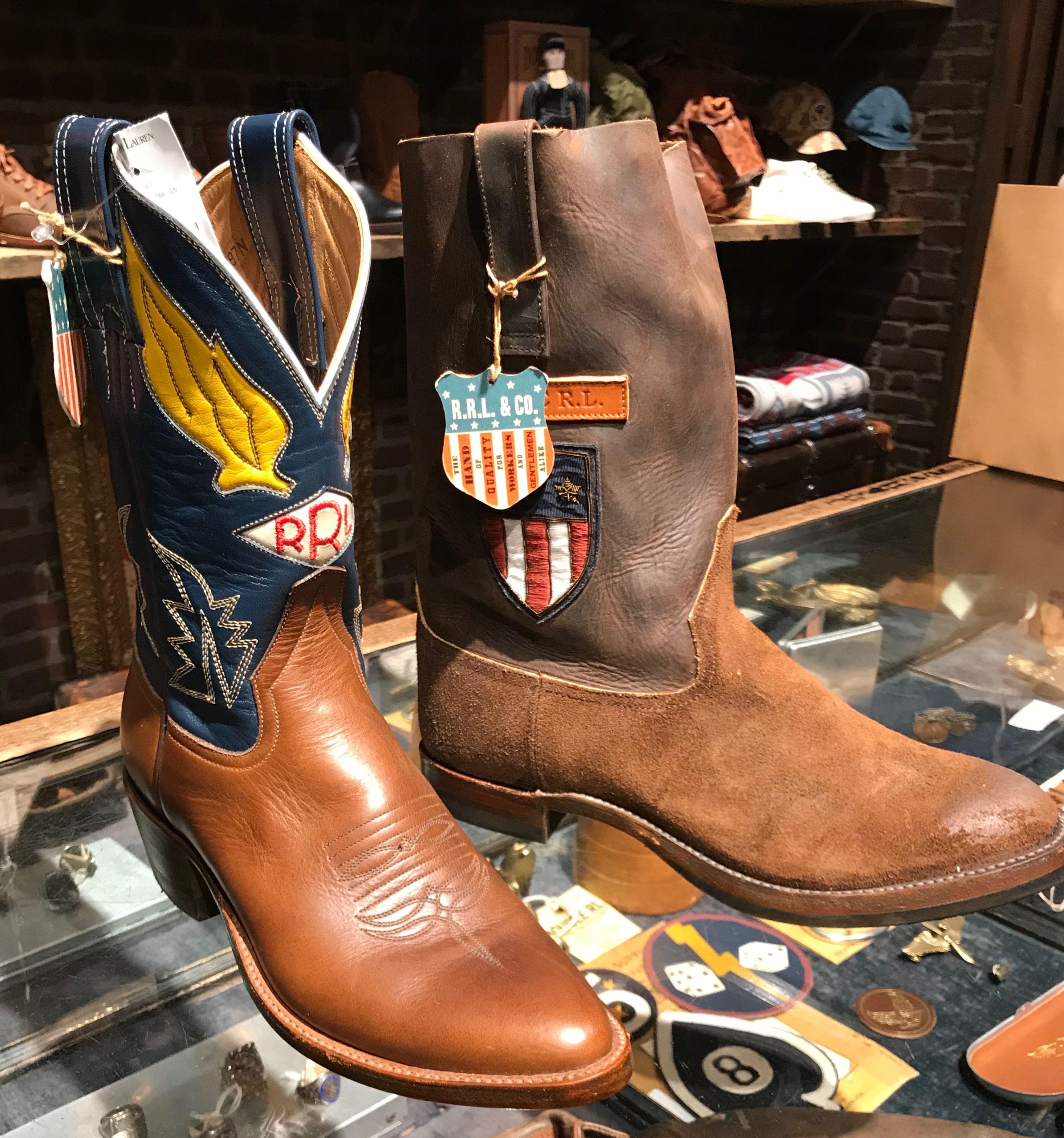 f0b4ebaff3e Ralph Lauren RRL branded cowboy boots at the RRL Soho NYC store ...