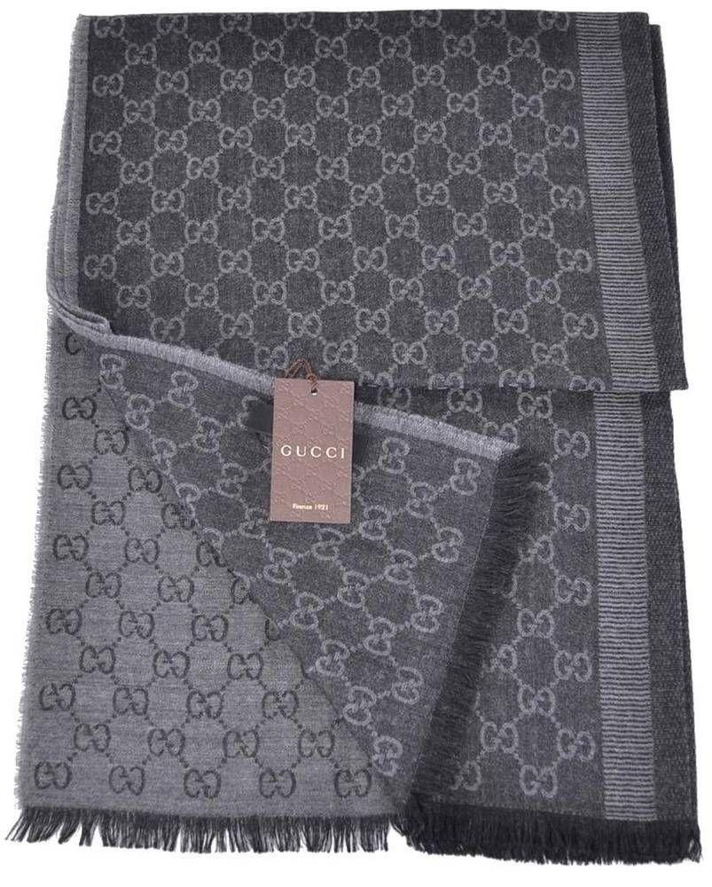 New Gucci 282390 Black Grey Wool Silk GG Guccissima Logo Scarf Shawl  Gucci   Scarf f9834fbb084