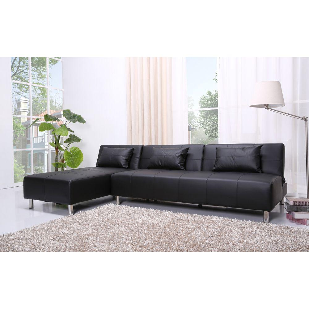 Atlanta Black Convertible Sectional Sofa Bed   Overstock.com ...