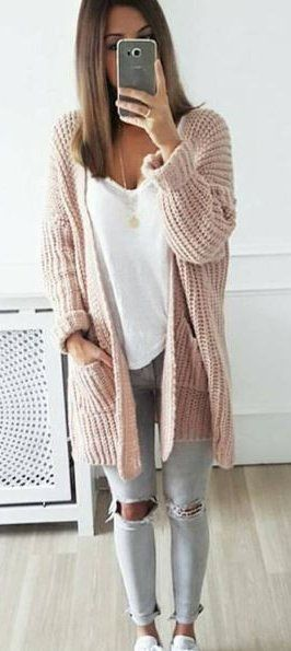 spring outfits blush cardigan grey destroyed skinny jeans fall outfit ideas pinterest. Black Bedroom Furniture Sets. Home Design Ideas