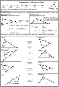 Laws Of Sines And Cosines   Solve and Match   Law of sines ...