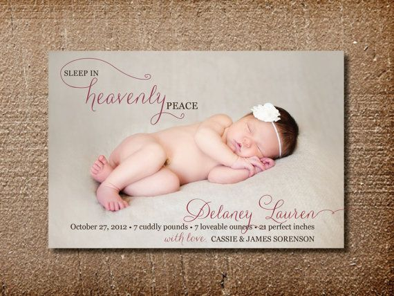 Christmas Birth Announcement Card Heavenly Peace On Etsy 15 00