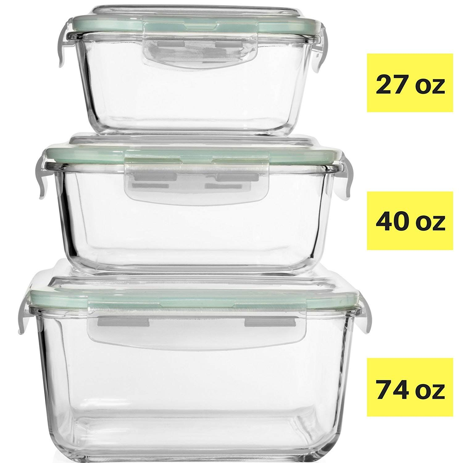 Extra Large Glass Food Storage Containers With Airtight Lid 6 Pc 3 Containers With Lids M Food Storage Containers Glass Food Storage Glass Storage Containers